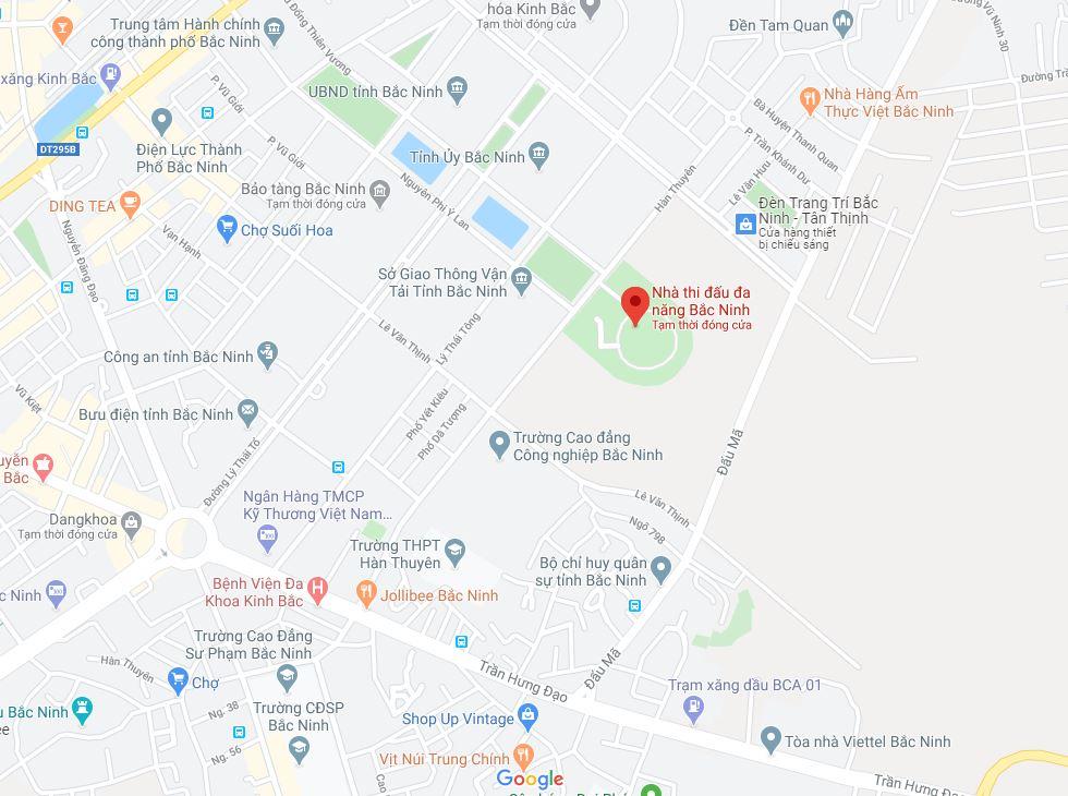 Hình ảnh bản đồ Google Maps chỉ đến Nhà thi đấu tỉnh Bắc Ninh
